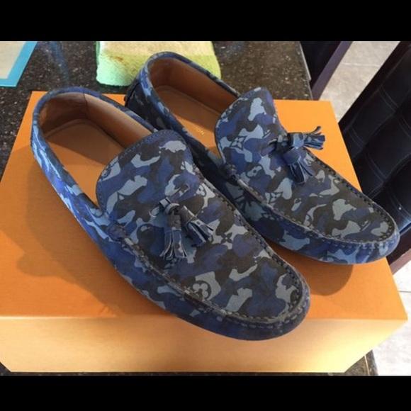 d722f7f3 Louis Vuitton Men's Blue Camo Loafers US 9 LV 8